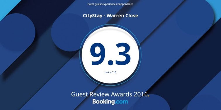 Awards Booking.com Citystay Warren Close